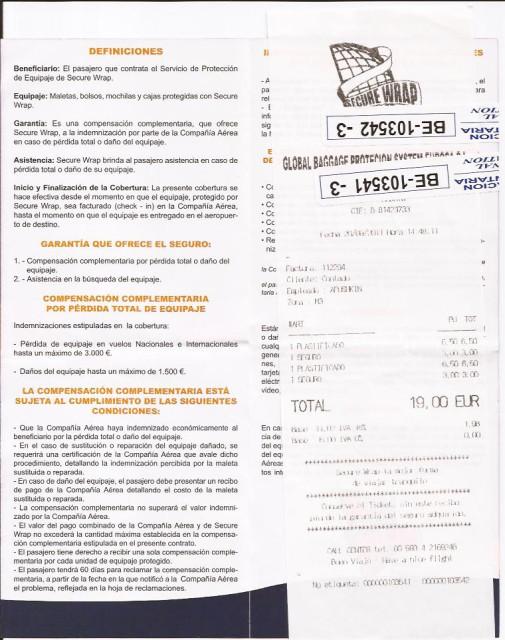 Чек и страховка выданная после упаковки чемодана в аэропорту Барселоны