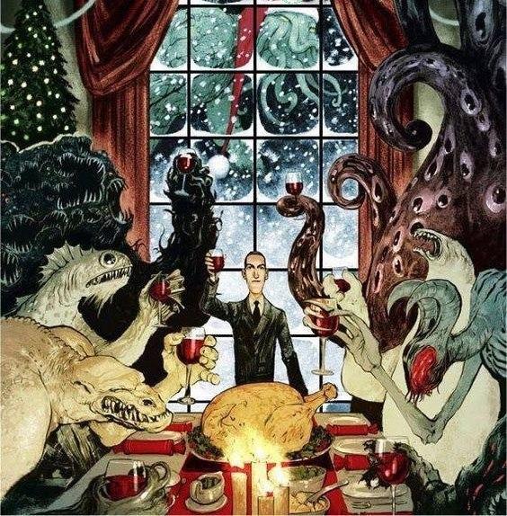 """Говард Филипс Лавкрафт и его фантазии поздравляют нас с Новым Годом. В роли Санты - Великий Ктулху. """"Ктулху к нам приходит, Ктулху к нам приходит..."""""""