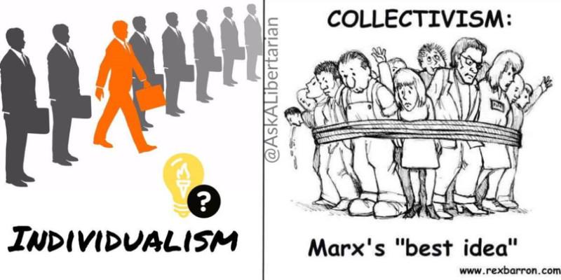 Немного антиколлективистской и антимарксистской пропаганды. В этой картинке есть забавный скрытый смысл: все человечки при индивидуализме одинаковы, а томящиеся под гнётом коллективизма люди хоть и комичны, но каждый имеет индивидуальность. Иронично.