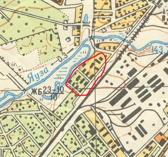 Квартал двухэтажек на нарте 1964 года. Ныне остался только один дом. Чуть севернее выделенной области находится Краснозарьевский проезд, о котором написано выше.