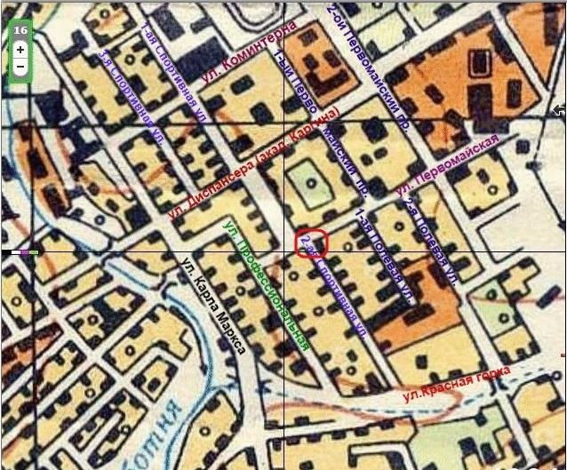 Фрагмент карты 1964 года с улицами.