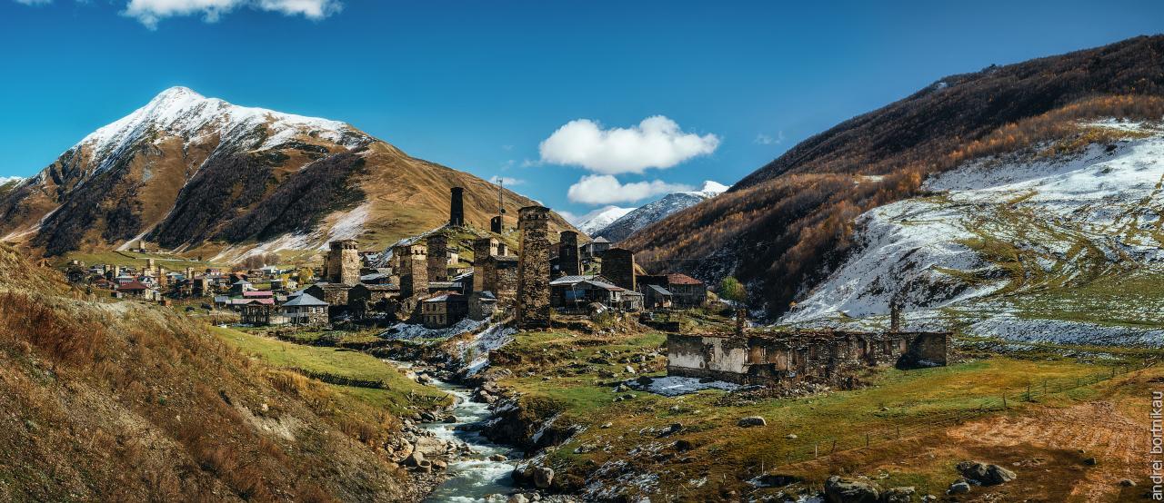 Вид на Ушгули, Верхняя Сванетия