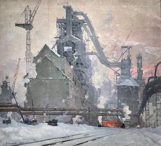 Монументальное полотно «Кузнецкая-Комсомольская» того же Константина Ананьина (1960)