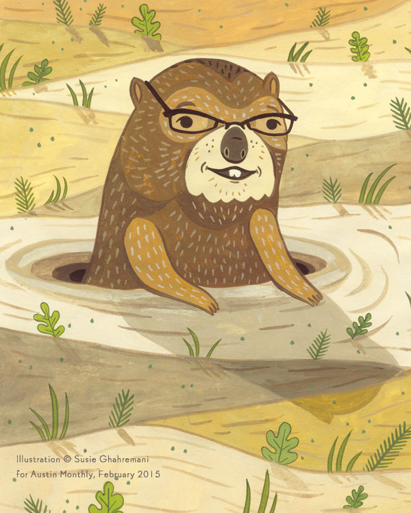 susie ghahremani / boygirlparty.com -- groundhog illustration for austin monthly