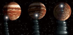 Комета Шумейкеров–Леви-9 в 1992 году сблизилась с Юпитером и была разорвана силой его тяготения, а в июле 1994 года ее осколки столкнулись с Юпитером, вызвав фантастические эффекты в атмосфере планеты. Фото из www.college.ru