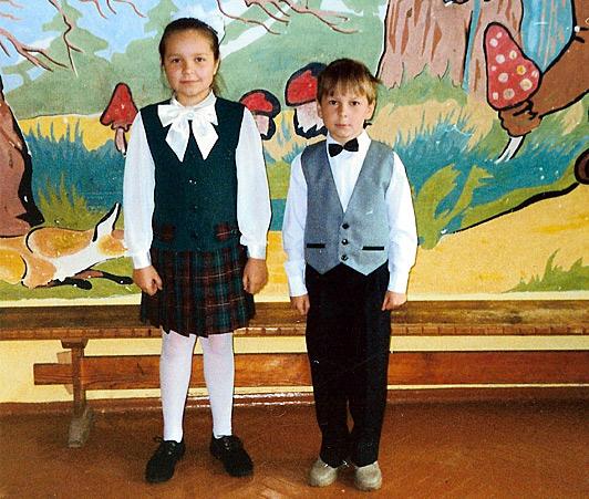 Дочь Наталья и сын Николай в средней школе