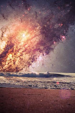 Млечный путь над океаном в полном волновом диапазоне
