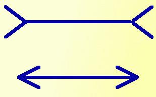 иллюзия горизонтальных отрезков со стрелками