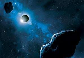 В поясе Койпера уже найдено 14 'двойных астероидов'. Они напоминают уменьшенную копию 'главной пары' - Плутона и Харона. (На рис. Нептун). Фото с сайта 'Проект Исследование Солнечной системы', http://galspace.spb.ru/