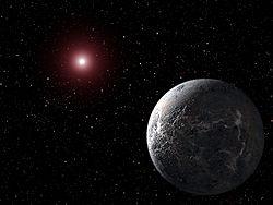 Взгляд художника на планету OGLE-2005-BLG-390Lb (температура поверхности −220 °C), которая вращается вокруг звезды на расстоянии 20 000 световых лет от Земли; планета обнаружена с помощью гравитационного микролинзирования. Рисунок из Википедия