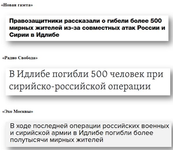 Деза о сирийских атаках ВКС РФ: российские либеральные СМИ тиражируют западную русофобскую липу