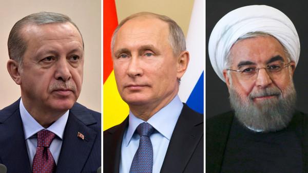 Владимир Путин проводит переговоры с коллегами из Ирана и Турции по сирийскому вопросу