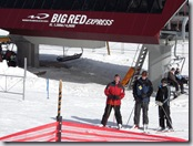 Brandon, Brad, and Tammy taking the must have picture of the Big Red Express lift. Go Big Red!