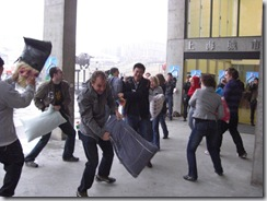 Pillow fight action in Shanghai.