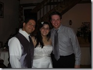 Kate and Gilbert (with Brandon) at their wedding reception.