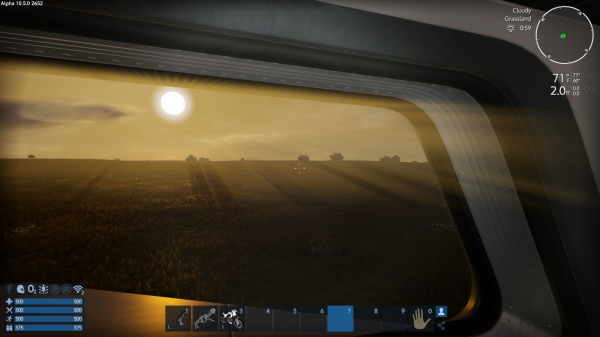 view of field through spaceship window