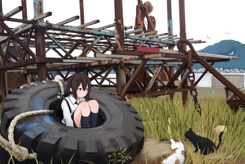 Konachan.com - 271536 animal black_hair cat grass industrial kneehighs original rope ruins sakeharasu seifuku short_hair sky water