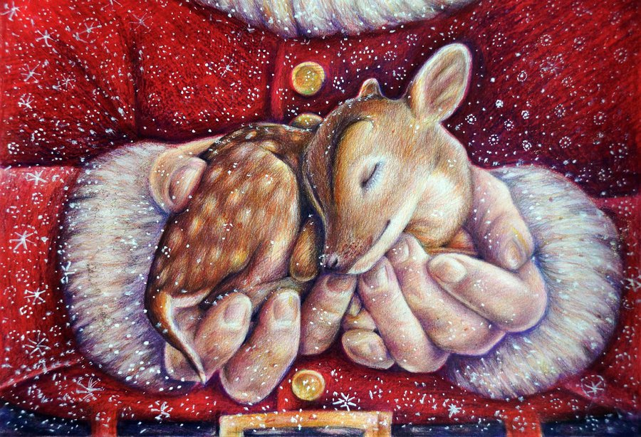 1388587005_santa_with_baby_deer_by_alena_koshkar-d6ufbhm