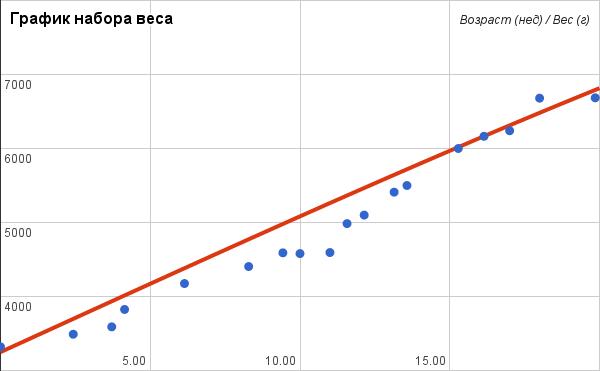 график набора веса новорожденным