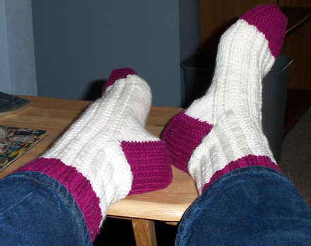 Knitting Olympic socks
