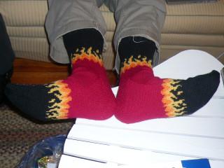 Bitchin' flames socks!