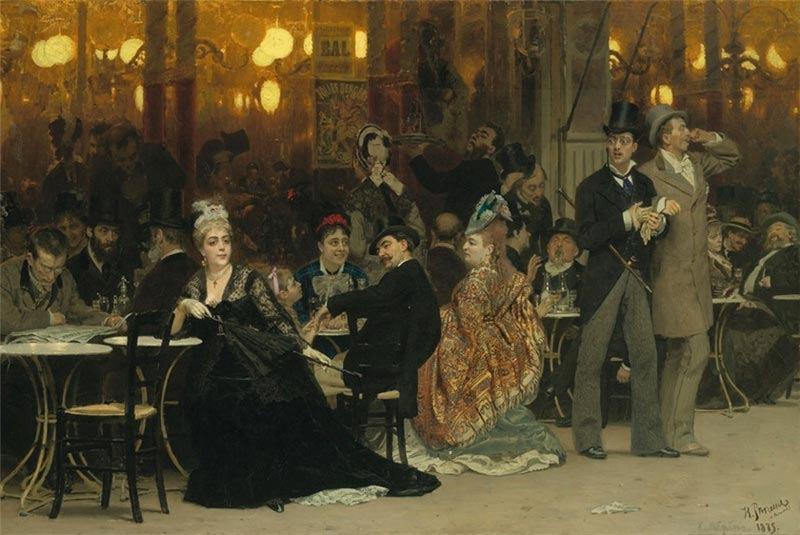 """Репин И.Е. """"Парижское кафе"""". 1875г. Не так давно, эта картина из жизни богемы созданная Ильей Репиным, ушла на одном из аукционов Christie's за огромные деньги... (7 383 201 $). А все потому, что она была первой! Именно она, открыла эту ТЕМУ! Например, «Бал в ле Мулен де ла Галет» Ренуара был написан в 1876 году, только через год после того, как «Парижское кафе» было выставлено в парижском Салоне. Его же (Ренуара) «Завтрак лодочников» был создан в 1881 году, а известная картина Эдуара Мане «Бар в Фоли-Берже» - в 1882 году."""