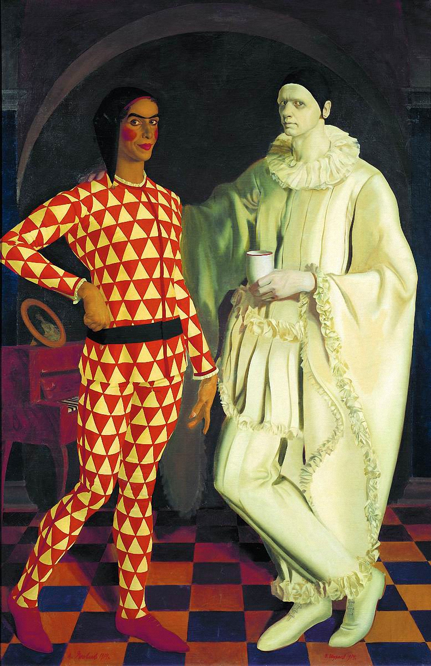 Автопортрет Василия Шухаева вместе с Александром Яковлевым в образе Пьеро и Арлекина. 1914 г.