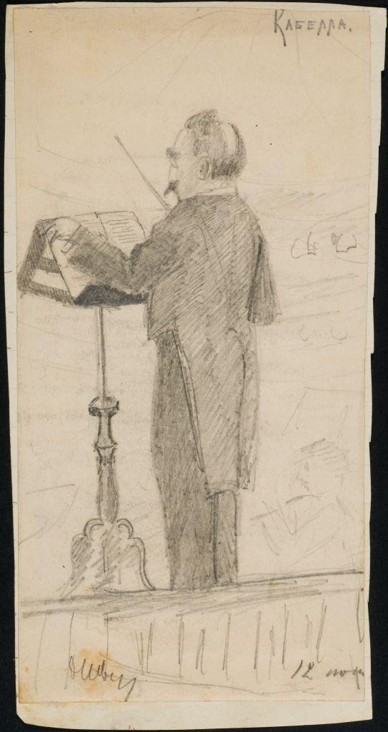 Кабелла Эдуардо (1855 - ?), итальянский дирижёр, служил в России в 1878-1919 гг. Рис. О.И. Шведе-Дубенецкене-Калпокене. 1910е гг.