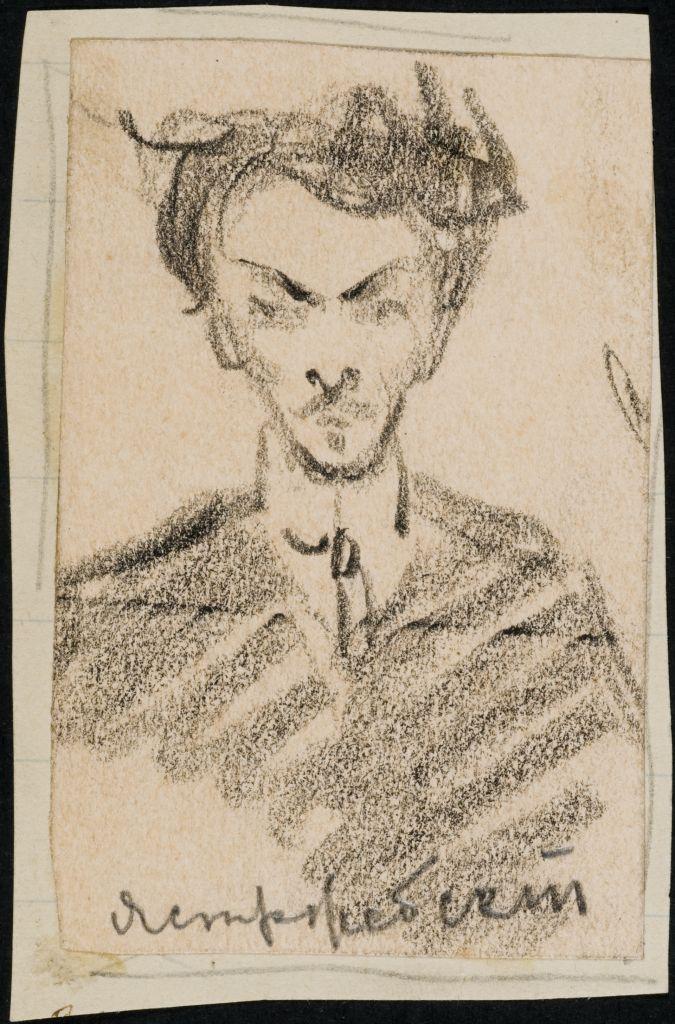 Антон Станиславович Ястржембский (1884—1960) — русский живописец и график. Рис. О.И.Шведе-Дубенецкене-Калпокене. 1920е.