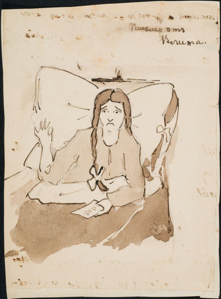 Читает письмо от Влита... Похоже на рисунок Тани Шведе. Ок. 1910 г.