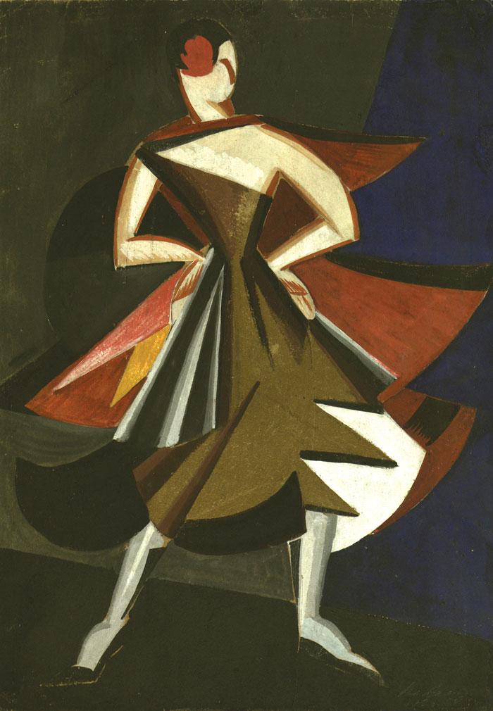"Александра Экстер. Дизайн костюма для ""Танцев Эльзы Крюгер"", 1920."