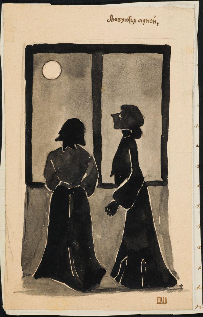Лиденька и Оленька. Любуются луной. Акв. О.И.Шведе. 1910е.