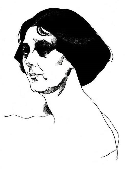 Ю. Анненков. Портрет Айседоры Дункан, 1921. Картон, тушь.
