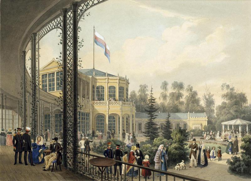 Вокзал в Павловске. Литогр. К. Шульца по рис. И. Я. Мейера. Кон. 1840-х — нач. 1850-х гг.  Эрмитаж.