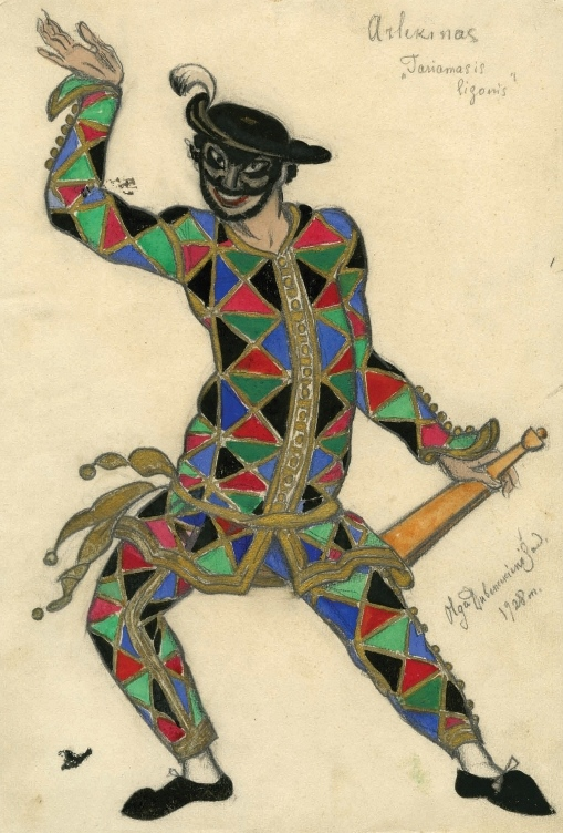 О. И. Дубенецкене-Калпокене. Эскиз костюма Арлекино к драме «Мнимый больной» (Мольер). 1928 г.