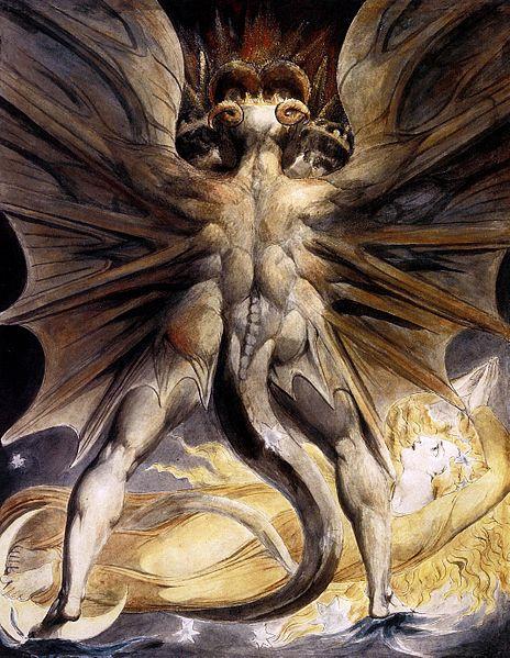 Большой Красный Дракон Апокалипсиса соответствует Сатане. Жена - христианской церкви. Картина Уильяма Блейка (1757-1827). Нач. 19 в.