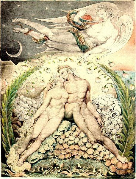 Уильям Блэйк (1757-1827). Сатана наблюдает за ласками Адама и Евы. 1808, бум., аквар.