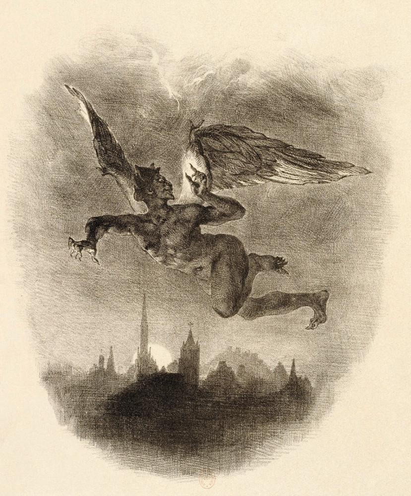 Эжен Делакруа, «Мефистофель, летящий над городом» (1828).