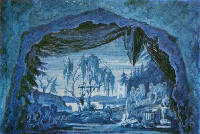 М.В. Добужинский. «Жизель». Балет Адольфа Адана. Эскиз декорации. 1935г.
