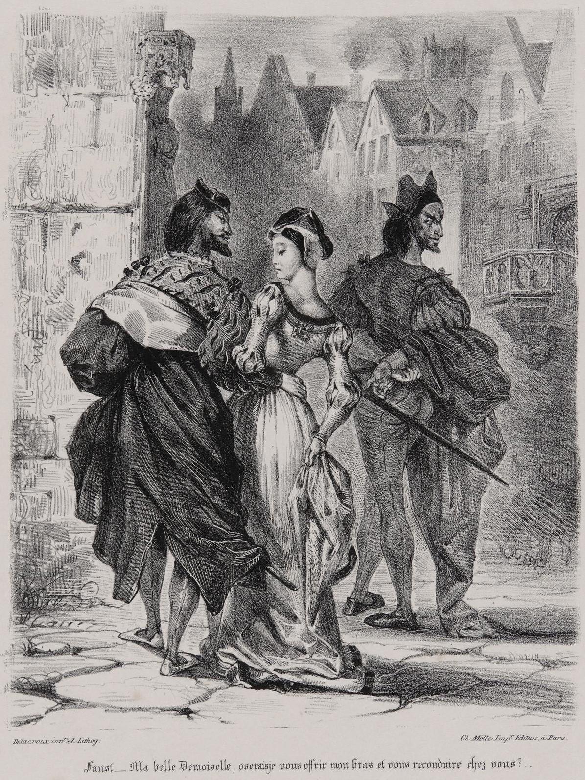 Эжен Делакруа. «Фауст пытается соблазнить Маргариту (по Гете Фауст)». 1827, published 1828.