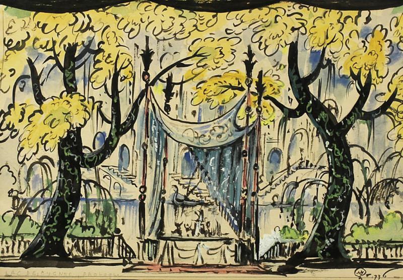 """М.В. Добужинский. Декорация к балету """"Лебединое озеро"""". 1936 г."""