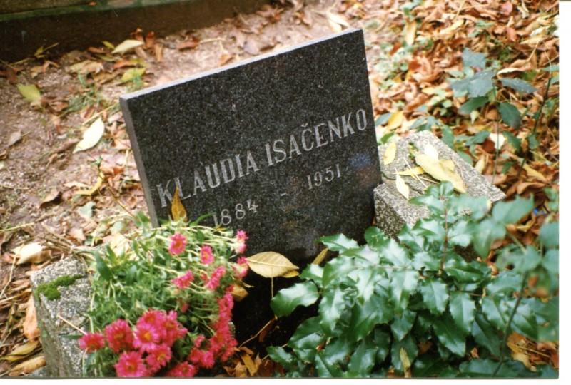 Могила Клавдии Лукьяновны Исаченко в Братиславе (Словакия). В настоящее время не существует...