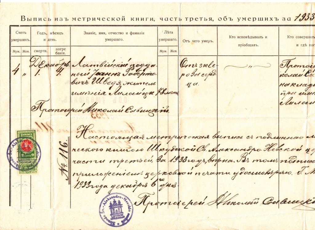Копия выписки из метрической книги о смерти Ивана Романовича Шведе.