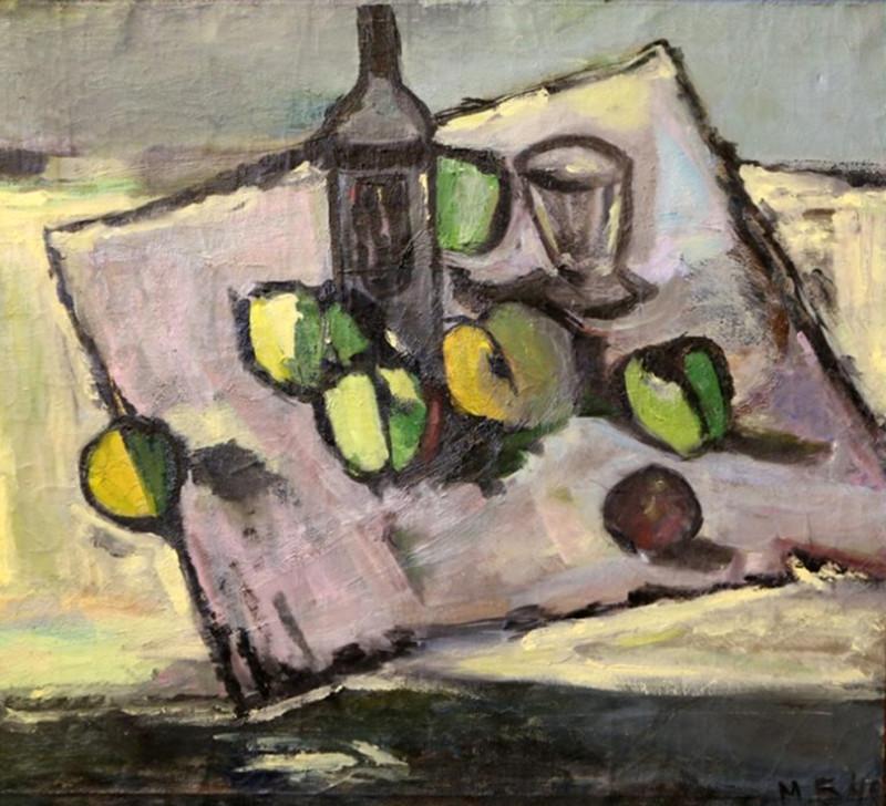 М.Бернштейн. Натюрморт с яблоками. Холст, масло. 63х68. 1946.