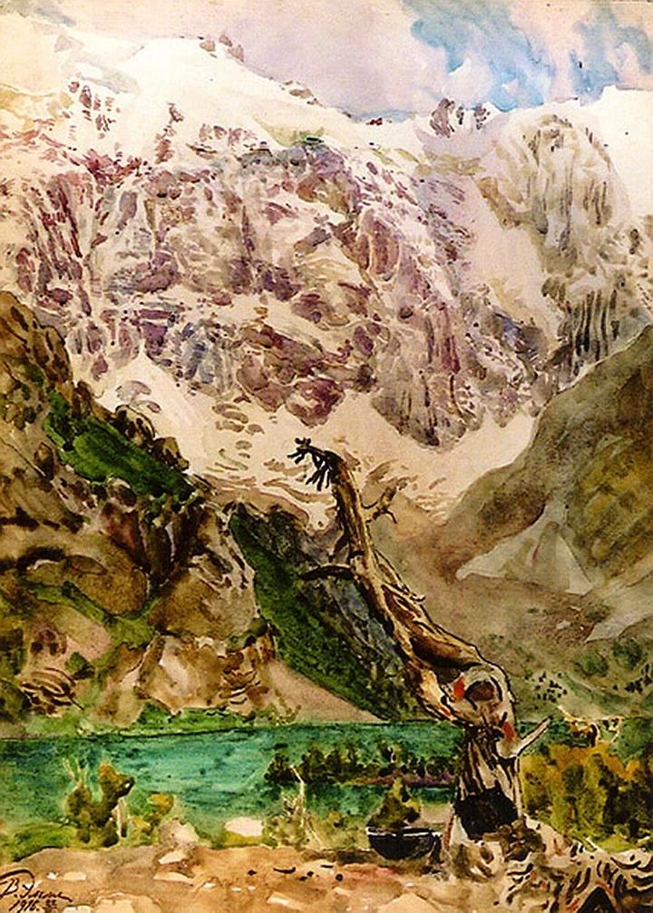 В.В.Эмме. Горы. Акварель. 1916г.