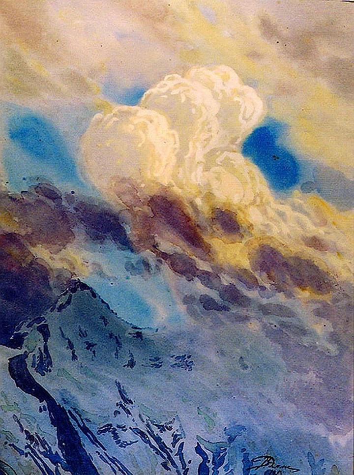 Хребет П. Великого. Вершина горы Шильбы. В.Эмме. Акварель. Авг., 1913.