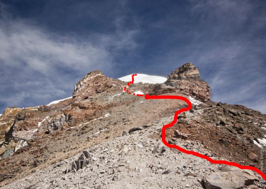 Путь восхождения на вулкан Сахама
