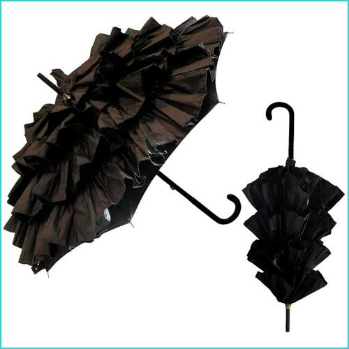 Black CanCan Parasol Umbrella by Guy de Jean