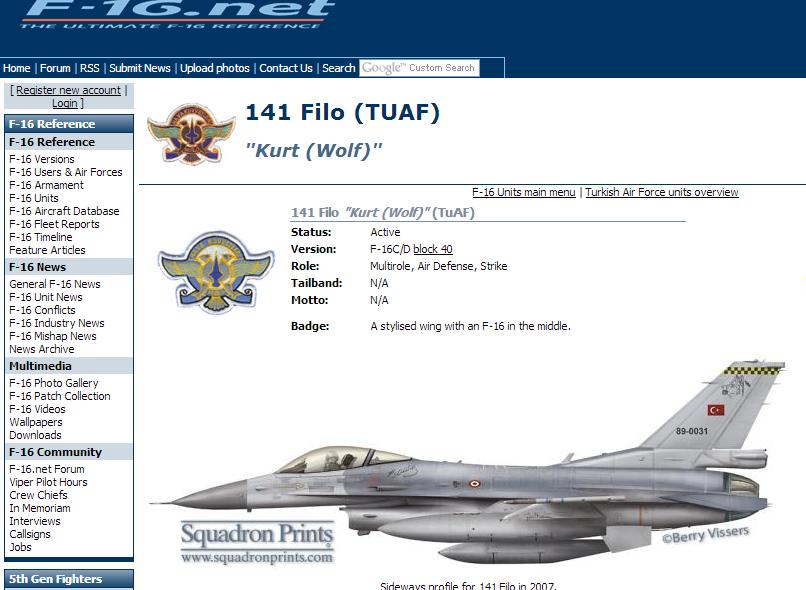 F-16 Units - TuAF 141 Filo -- F-16.net