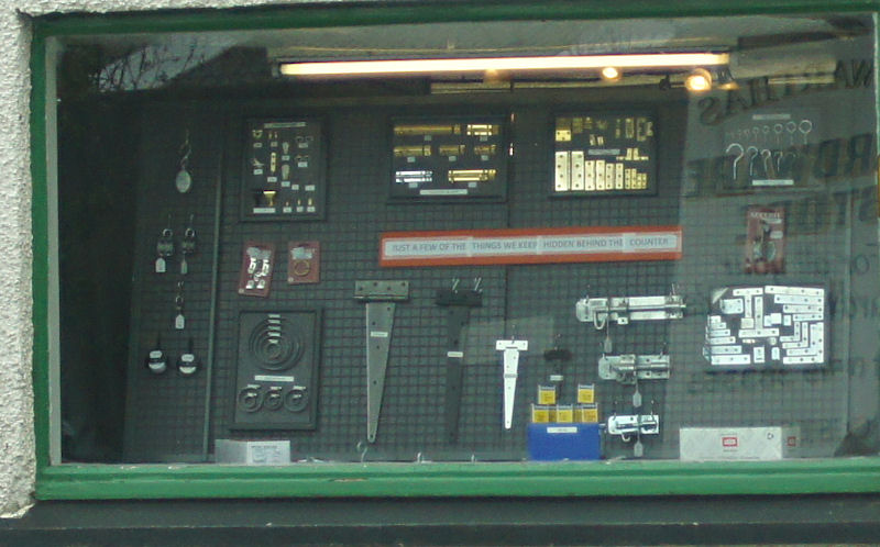 A display of bolts and hinges